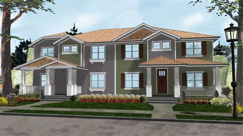 two craftsman two family craftsman with alley garage 62563dj