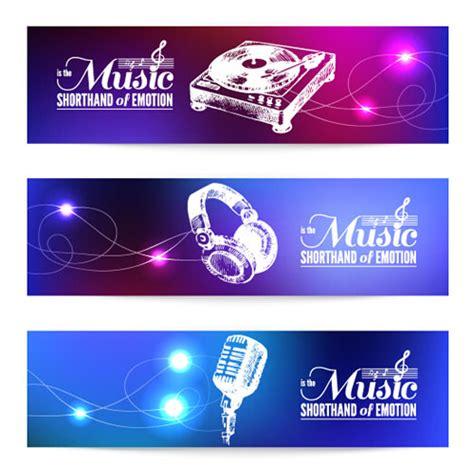 printable music banner modern music banners vector set 01 vector banner vector