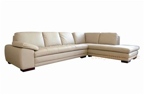 Beige Modern Genuine Real Leather Sofa Chaise Sectional
