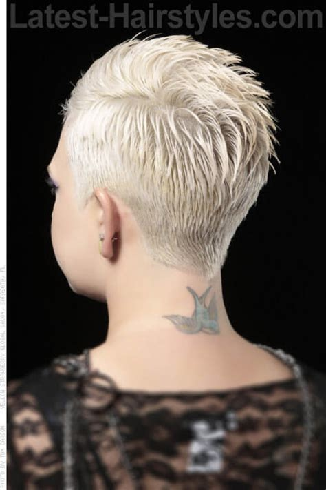 short hair styles showing the back of head time to write spiked back