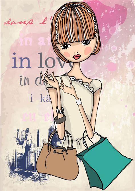 fashion shopping girl  vector   vectorpsd