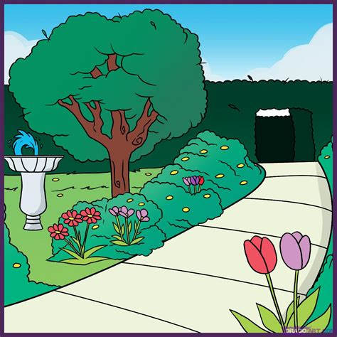 how to draw a garden with flowers how to draw a garden step by step landscapes landmarks