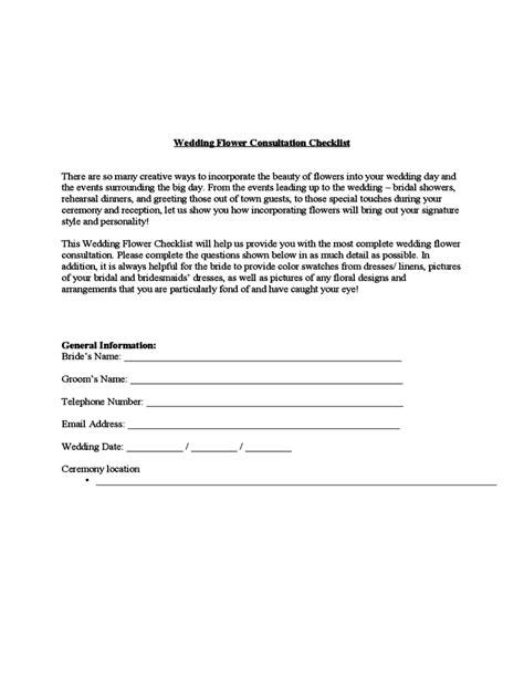 Wedding Dress Questions Checklist by Wedding Flower Consultation Checklist Template Free