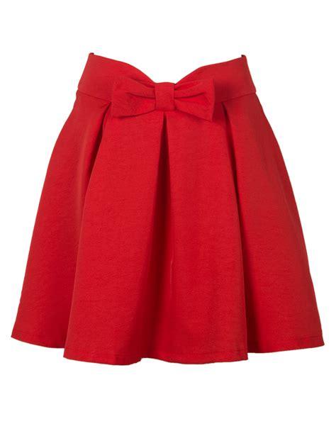 bowknot waist pleat detail skater skirt choies