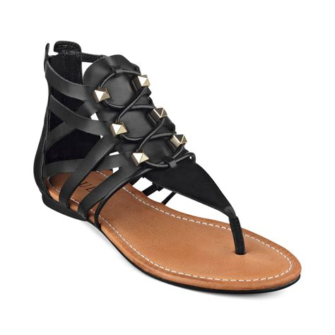 sandals guess lyst guess glando gladiator flat sandals in black