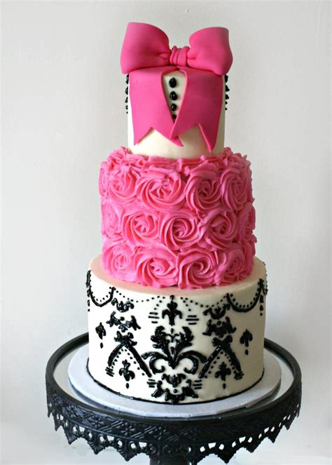 black and pink birthday cake pink and black damask cakecentral com