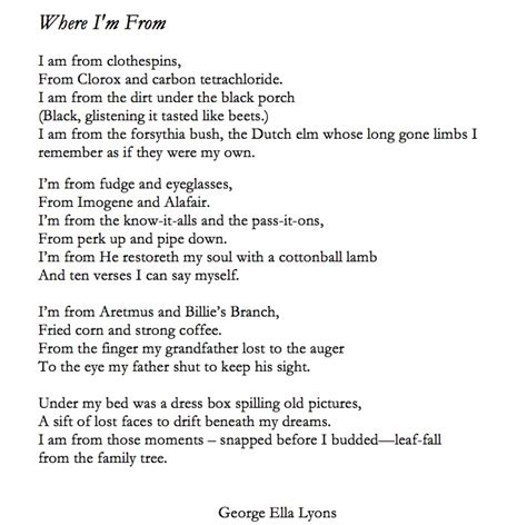 where i am from poem template george ella lyon aims for a poem from every county with