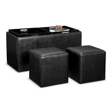 ottoman with storage and tray tiffany 3 pc storage ottoman with trays value city