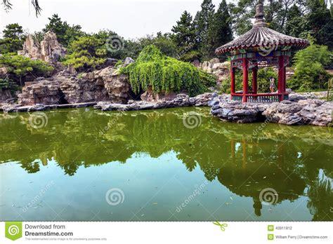 Pavillon Teich by Roter Pavillon Teich Temple Of Sun Stadt Park Peking China