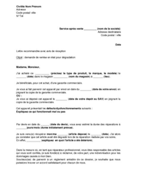 Exemple De Lettre De Demande Remise Gracieuse Lettre De Demande De Remise En 233 Tat Au Service Apr 232 S Vente