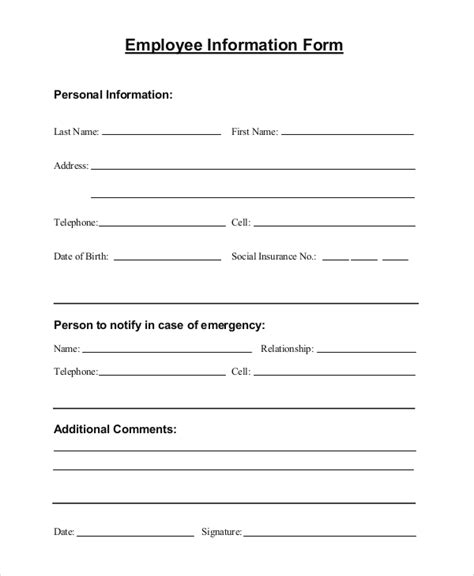 10 Sle Employee Information Forms Sle Templates Personal Registration Form Template