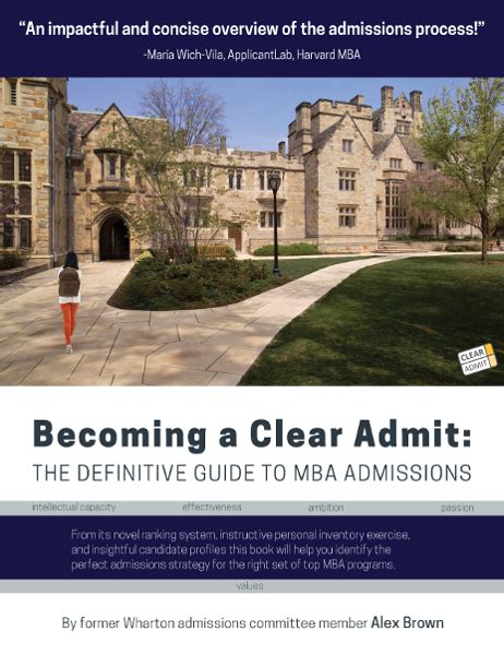 Mba Clear Admit by Becoming A Clear Admit The Definitive Guide To Mba