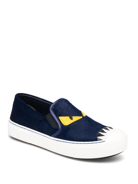fendi sneakers on sale fendi buggies leather calf hair slip on sneakers in blue
