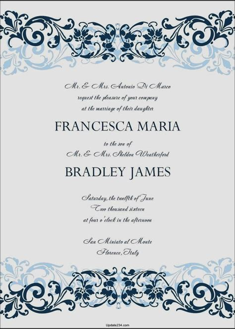 Wedding Invitation Cards Templates Word by Wedding Invitation Card Template Word Template Update234