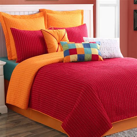 red coverlets dash red orange reversible coverlet set by fiesta