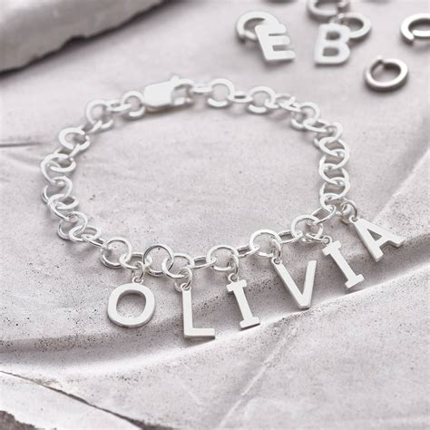 personalised sterling silver name charm bracelet