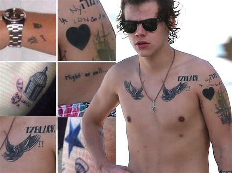 harry styles tattoos mapping one direction s