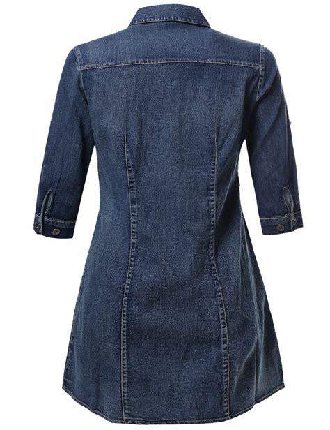 3 4 Sleeve Denim Shirt fashionoutfit womens 3 4 sleeve button denim chambray