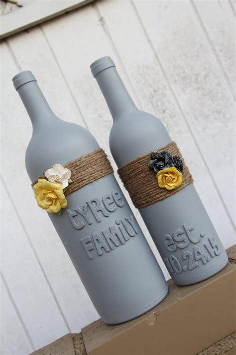Wedding Gift by Custom Wedding Gift Wedding Wine Bottles Yellow By