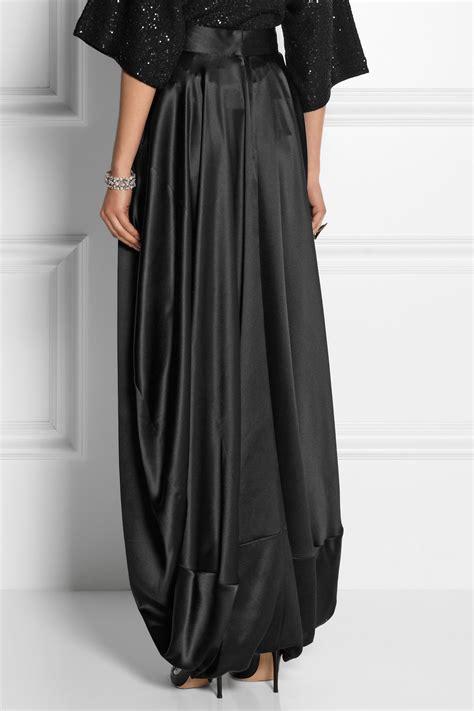 oscar de la renta silk satin maxi skirt in black lyst