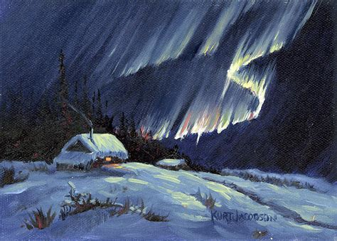Cabin Plans For Sale Northern Lights Painting By Kurt Jacobson