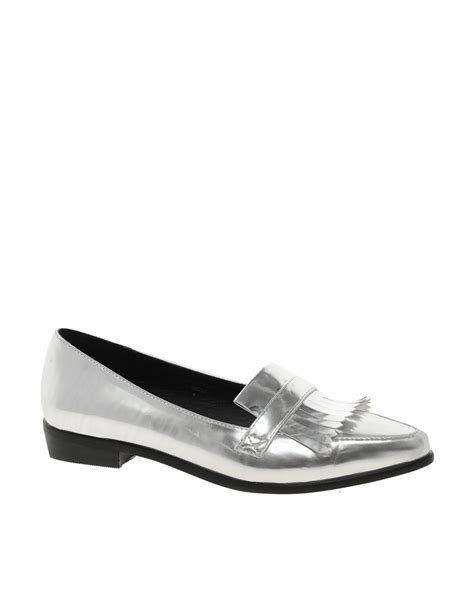 silver flat pointed shoes asos mandem pointed flat shoes in silver lyst
