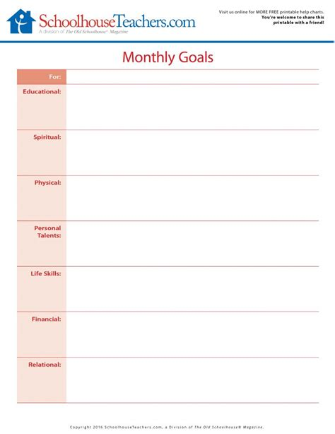 printable monthly goal calendar free printable monthly goals and month at a glance planner
