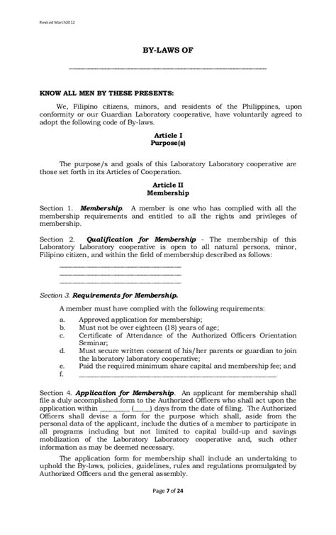 Letter Of Agreement Tagalog laboratory cooperative article of cooperation and by laws