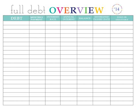 debt sheet template paying debt worksheets