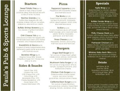 sports lounge menu sports bar menus