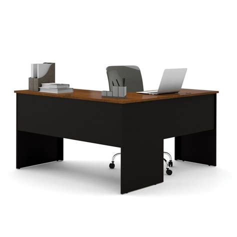Black L Shape Desk Bestar Somerville L Shaped Desk In Black And Tuscany Brown 45420 18