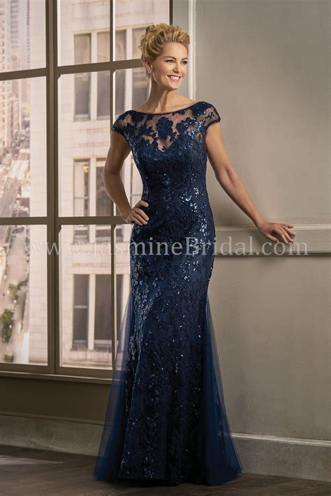 long boat neckline sequin lace  netting mob dress