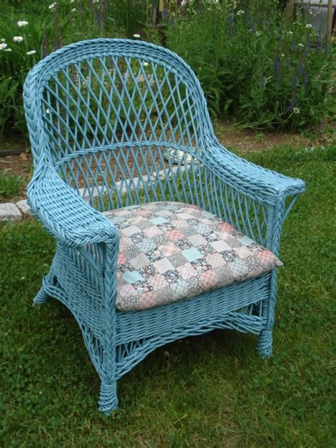Antique Wicker Chairs by Antique Wicker Chair Turquoise Wicker Cushion Included Ebay