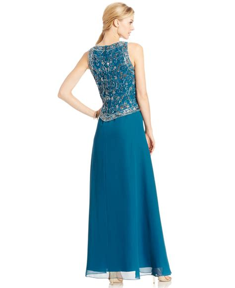 j kara beaded bodice gown j kara beaded bodice sleeveless gown in blue lyst