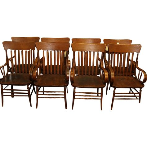 Heywood Wakefield Chairs by Oak Heywood Wakefield Arm Chairs Set Of 8 From