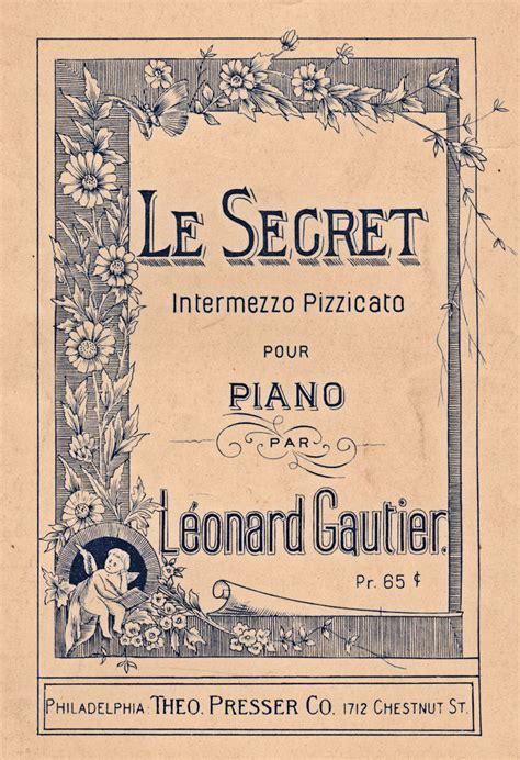 Musical Book Covers by Free Antique Graphic Le Secret Sheet The