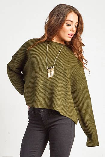 Boxy Twotone Blue Dusty shop wholesale womens green chunky knit