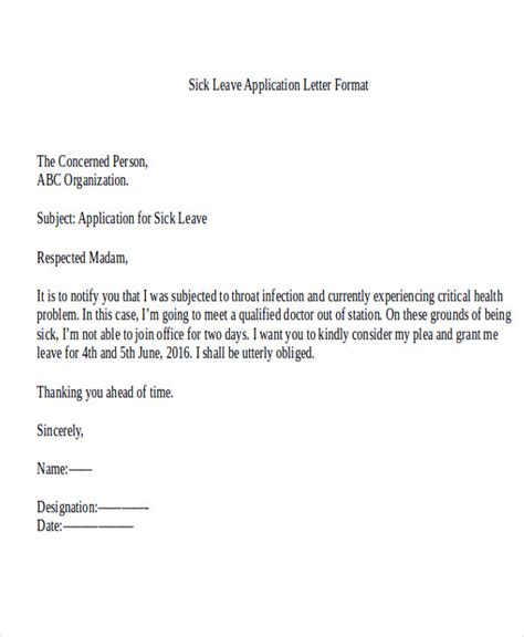 application letter for leave in office application letter format for leave in office