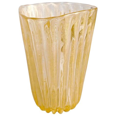 Large Gold Vase by Large Archimede Seguso Ribbed Murano Glass Vase With Gold