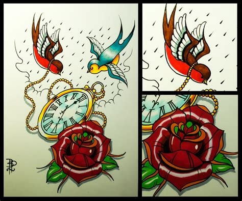 old style rose tattoo how to draw an school swallows and pocket