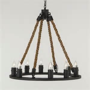Iron Ring Chandelier Engineered 32 Iron Ring W Hemp Ropes Chandelier High