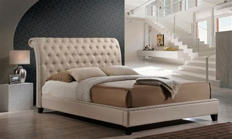 jazmin tufted modern bed with upholstered headboard jazmin modern bed with headboard groupon goods