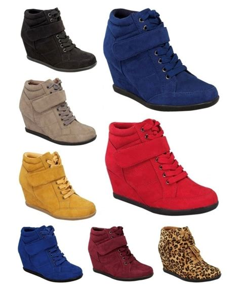 tennis shoe boots high top wedge heels sneakers hip hop lace up tennis