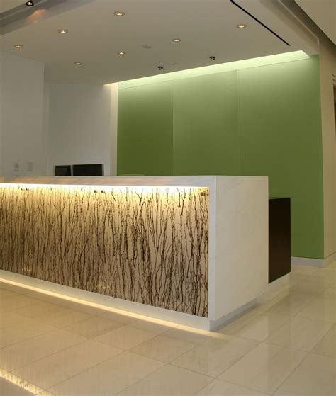 built in reception desk hand made backlit reception desk with absolute white stone