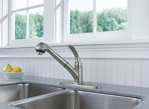 delta faucet b4310lf core b single handle kitchen pull out delta b4310lf ss foundations core b single handle pull out