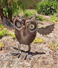 scrap metal owl yard sculpture rustic artistry