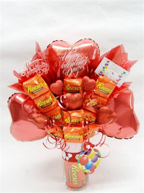 valentines sweet bouquets bunch 3 balloons reese s bars bouquet