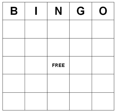 create your own bingo card template bingo cards printable freebie