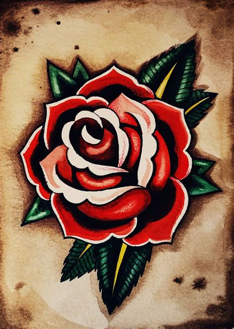 classic rose tattoos 15 school flower designs