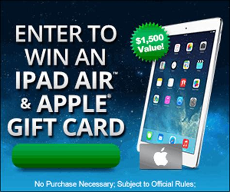 Ipad Gift Card - apple ipad gift card sweepstakes us only